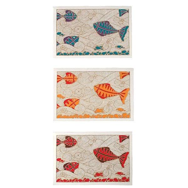 インド chimanlals(チマンラール)カラフルな魚 メッセージカード(封筒付き)【画像2】