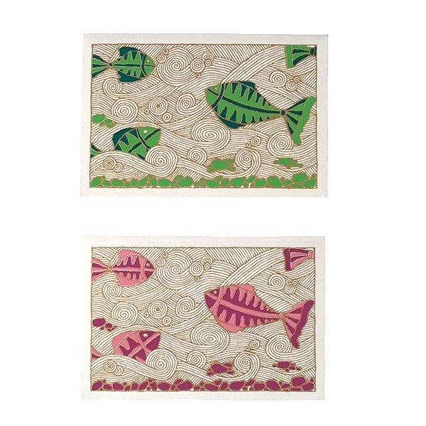インド chimanlals(チマンラール)カラフルな魚 メッセージカード(封筒付き)【画像3】