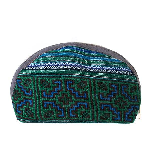 ベトナム 少数民族 モン族 刺繍 ポーチ(大 グリーン マチあり)