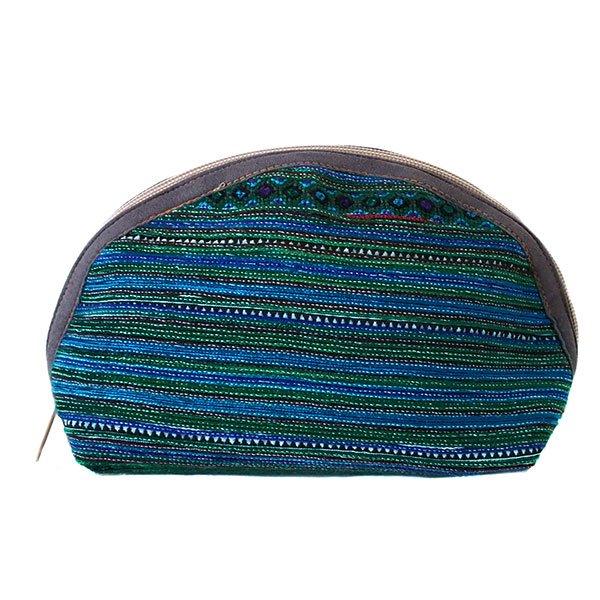 ベトナム 少数民族 モン族 刺繍 ポーチ(大 グリーン マチあり)【画像2】