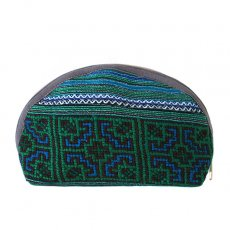ベトナム 少数民族 モン族 刺繍 ポーチ(大 マチあり グリーン)民族 刺繍 / ベトナム直輸入