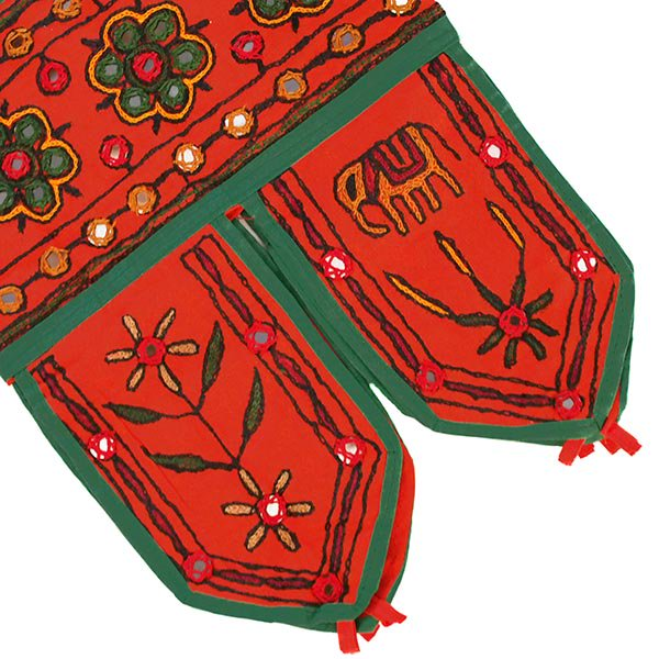 インド 刺繍 ミラーワークの のれん(ゾウ オレンジ)【画像6】