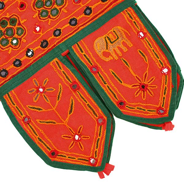 インド 刺繍 ミラーワークの のれん(ゾウ オレンジ)【画像7】