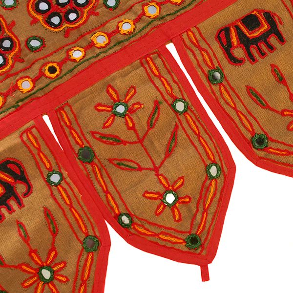 インド 刺繍 ミラーワークの のれん(ゾウ ブラウン)【画像6】