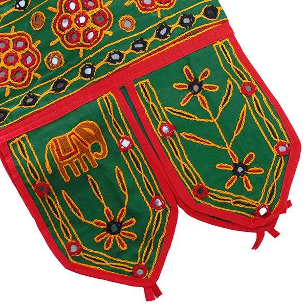 インド 刺繍 タペストリー トーラン(ゾウ グリーン)【画像6】