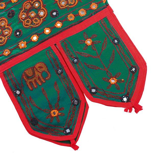 インド 刺繍 タペストリー  飾り(ゾウ 花 グリーン)【画像7】