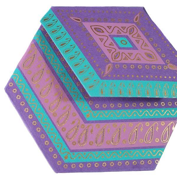 インド  chimanlals (チマンラール)ペイズリー 六角形 メッセージカード B( 封筒なし)【画像7】