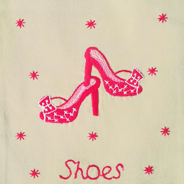 ベトナム 刺繍 巾着 小(Shoes 1)【画像2】