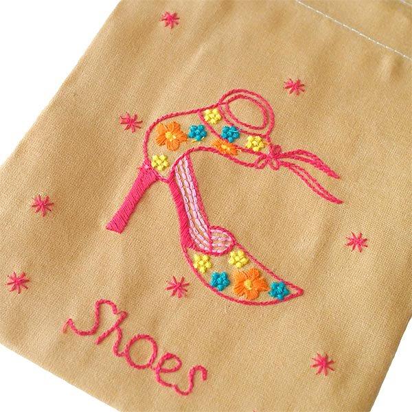 ベトナム 刺繍 巾着 小(Shoes 2)【画像2】