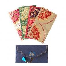 茶・ブラウン 雑貨 インド chimanlals(チマンラール)封筒 BANDHEJ ペイズリーB