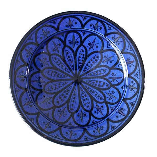 モロッコ サフィ 陶器 皿(ブルー 20cm)