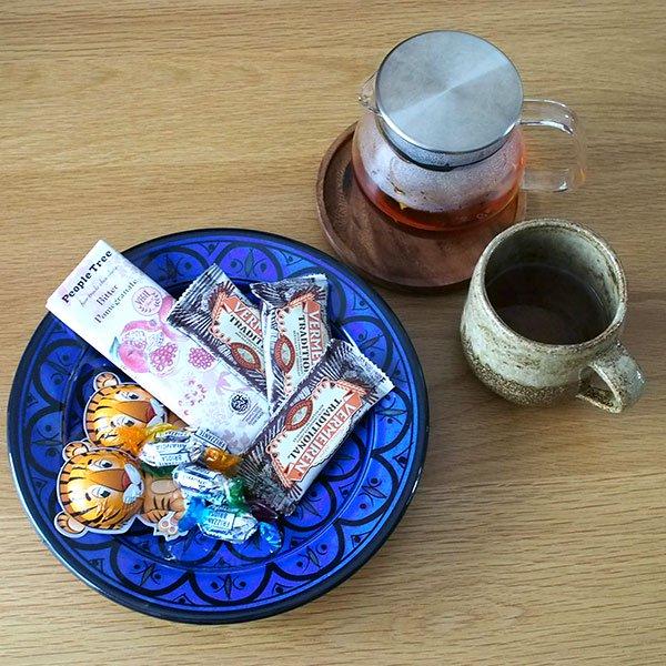 モロッコ サフィ 陶器 皿(ブルー 20cm)【画像4】