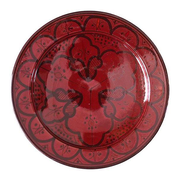 モロッコ サフィ 陶器 皿(赤茶 20cm)
