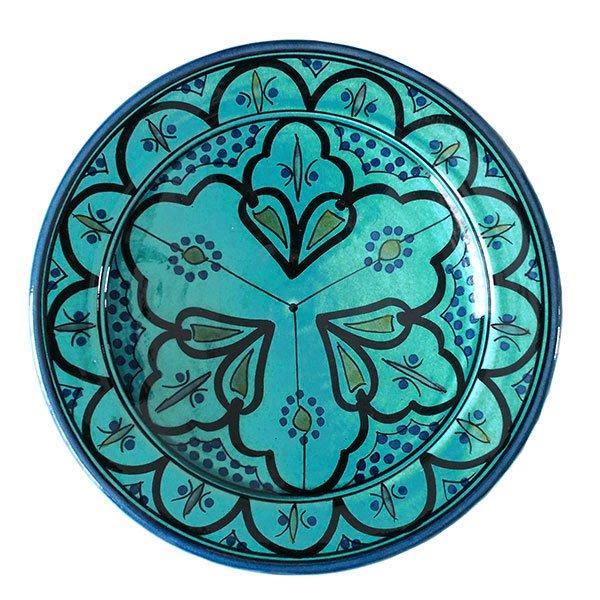 モロッコ サフィ 陶器 皿(ターコイズ 20cm)