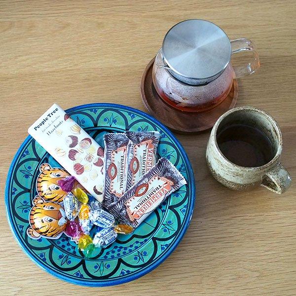 モロッコ サフィ 陶器 皿(ターコイズ 20cm)【画像4】
