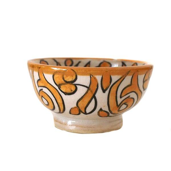 モロッコ フェズ 陶器 ボウル  小(オレンジ 9cm)