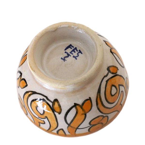 モロッコ フェズ 陶器 ボウル  小(オレンジ 9cm)【画像2】