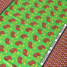 カンガ布 アフリカ ケニア カンガ プリント布 110x150(薔薇)