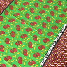 アフリカ ケニア カンガ プリント布 110x150(薔薇 グリーン 日本語訳不明)