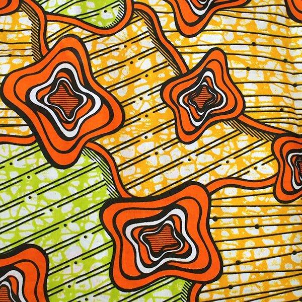 マリ 足踏みミシンで仕立てた パーニュ 巾着 エコバッグ(オレンジ模様)【画像3】