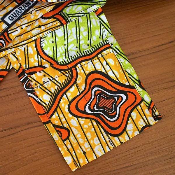 マリ 足踏みミシンで仕立てた パーニュ 巾着 エコバッグ(オレンジ模様)【画像5】