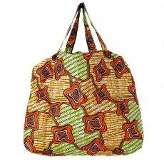 アフリカ 雑貨 マリ 足踏みミシンで仕立てた パーニュ 巾着 エコ ショルダーバッグ(オレンジ模様)