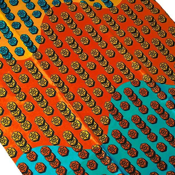 アフリカン プリント布 パーニュ 115×90 カットオフ(ネジ)【画像2】