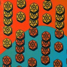 ユニークな柄 アフリカン プリント布 パーニュ 115×90 カットオフ(ネジ 2)