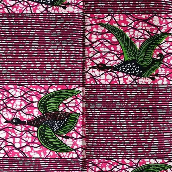 アフリカン プリント布 パーニュ 115×90 カットオフ(トリ ピンク)