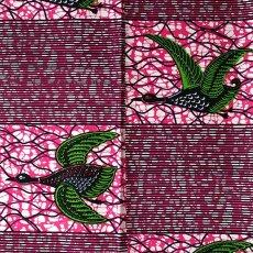トリ (鳥) 雑貨 アフリカン プリント布 パーニュ 115×90 カットオフ(トリ ピンク)
