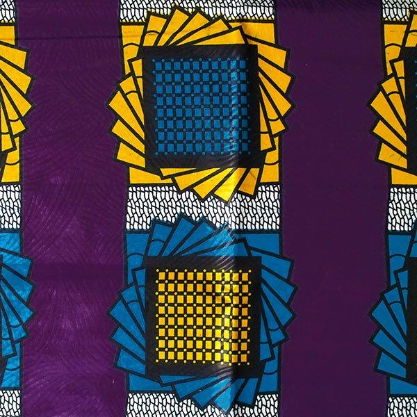 アフリカン プリント布 パーニュ 115×90 カットオフ(模様 パープル)