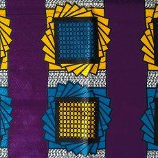 トリ(とり)シリーズ アフリカン プリント布 パーニュ 115×90 カットオフ(模様 パープル)