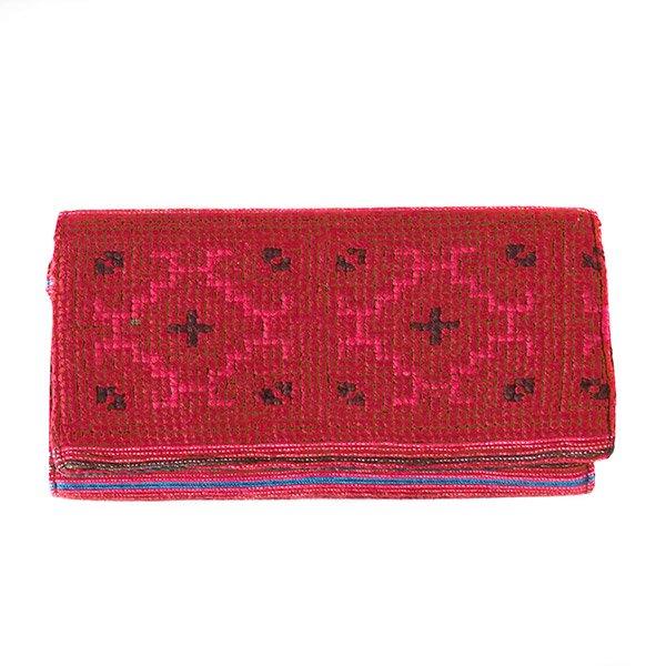 ベトナム 少数民族 モン族 刺繍 長財布(レッド)