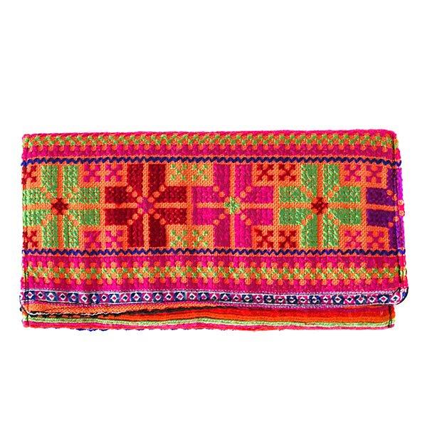 ベトナム 少数民族 モン族 刺繍 長財布(オレンジ系)