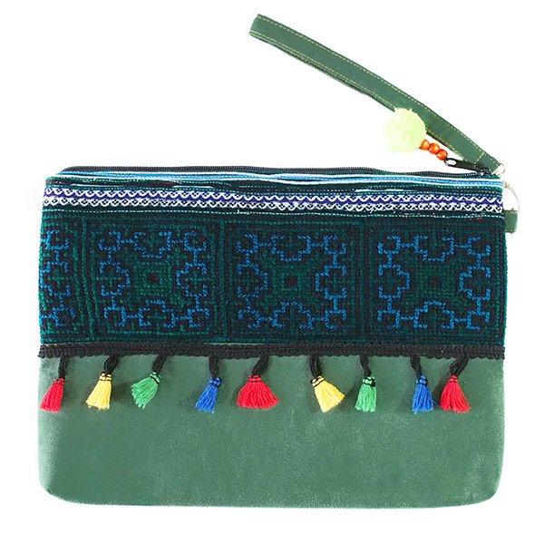 ベトナム 少数民族 モン族 刺繍 クラッチバッグ(タッセル付き グリーン)
