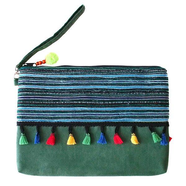 ベトナム 少数民族 モン族 刺繍 クラッチバッグ(タッセル付き グリーン)【画像2】