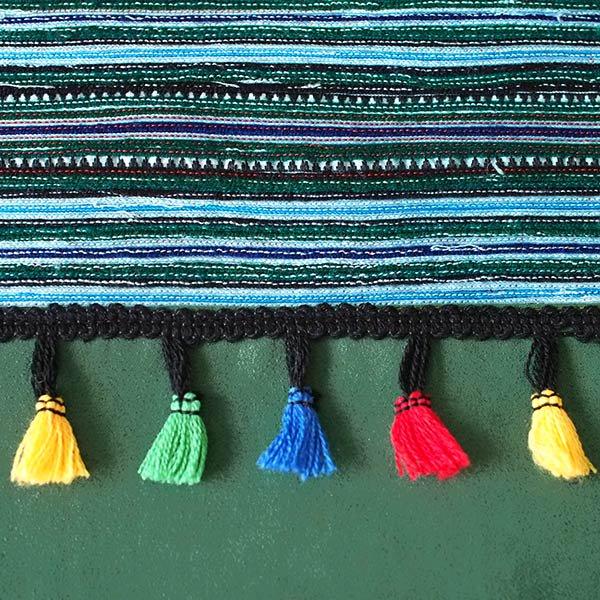 ベトナム 少数民族 モン族 刺繍 クラッチバッグ(タッセル付き グリーン)【画像3】
