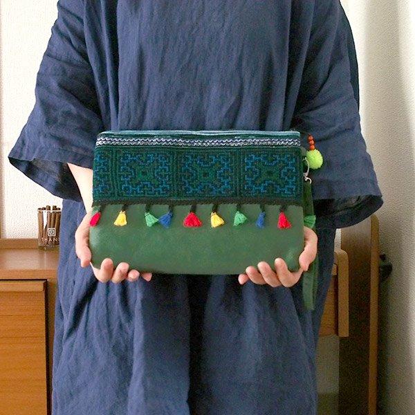 ベトナム 少数民族 モン族 刺繍 クラッチバッグ(タッセル付き グリーン)【画像8】