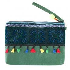ベトナム 少数民族 刺繍 クラッチバッグ(グリーン タッセル付き)