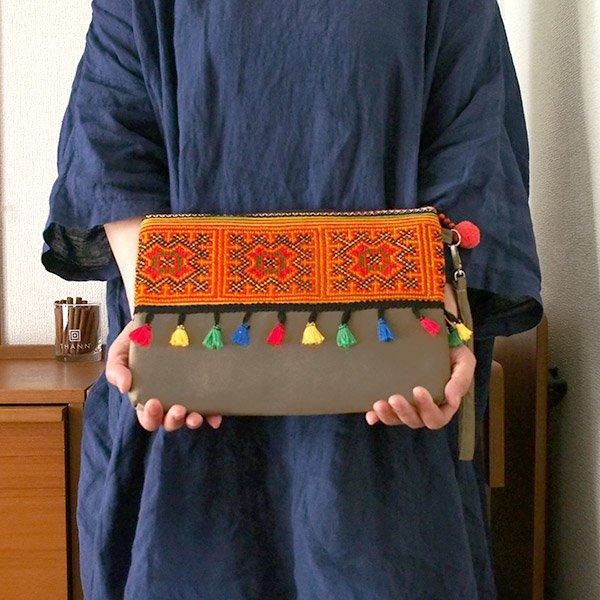 ベトナム 少数民族 モン族 刺繍 クラッチバッグ(タッセル付き オレンジ)【画像8】