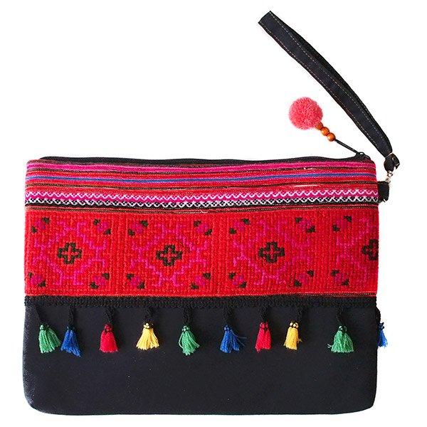 モン族 刺繍 クラッチバッグ(タッセル付き レッド)民族 刺繍 / ベトナム直輸入