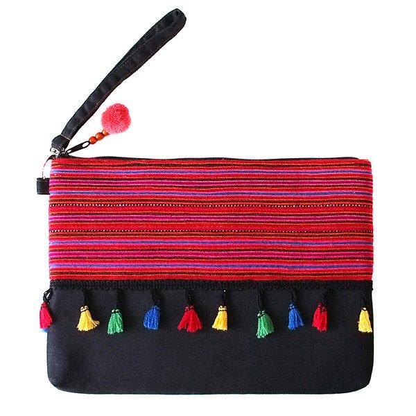 モン族 刺繍 クラッチバッグ(タッセル付き レッド)民族 刺繍 / ベトナム直輸入【画像3】