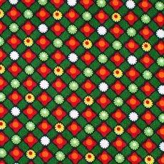 ベトナム 模様 布 カットオフ 幅130/ 1m売り(グリーン)
