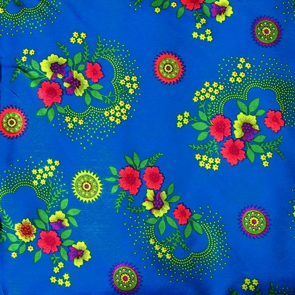 ベトナム 生地 花柄 カットオフ 幅135/ 1m売り(ブルー)
