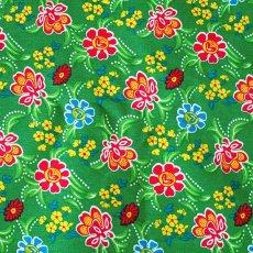 ベトナム / インド 生地 ベトナム 生地 花柄 カットオフ 幅130/ 1m売り(グリーン)