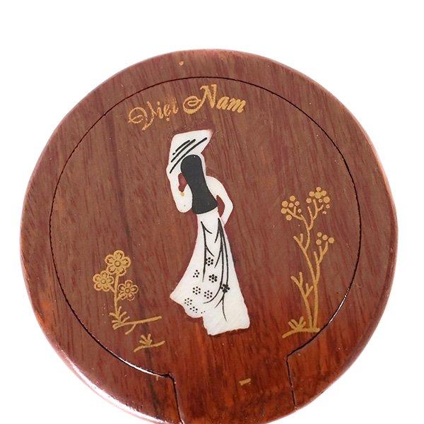 ベトナム 木製 手鏡 ハンドミラー (アオザイ 円形)【画像2】