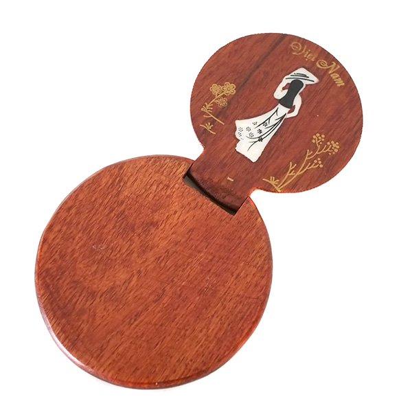 ベトナム 木製 手鏡 ハンドミラー (アオザイ 円形)【画像4】
