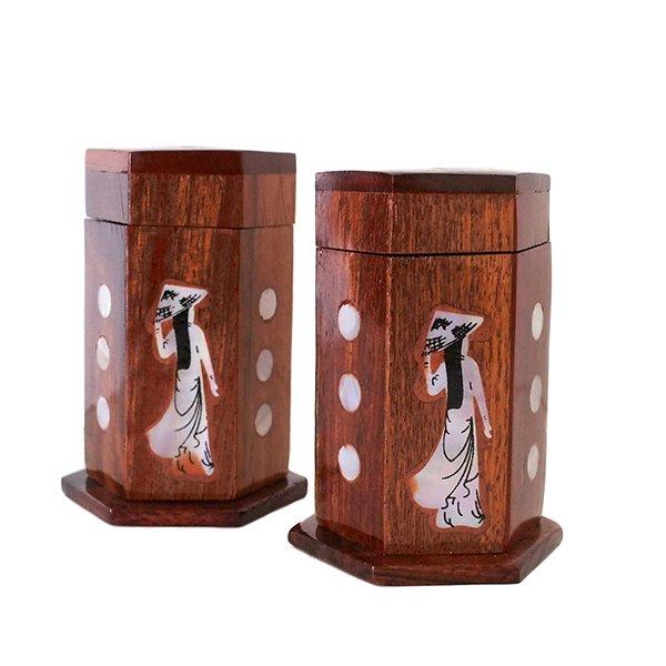 ベトナム 木製 爪楊枝(つまようじ)入れ アオザイ