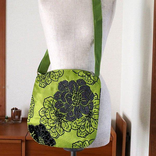ベトナム ビーズ 刺繍 バッグ(斜めがけ 花 グリーン)【画像6】