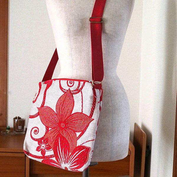 ベトナム ビーズ 刺繍 バッグ(斜めがけ 花 レッド)【画像6】
